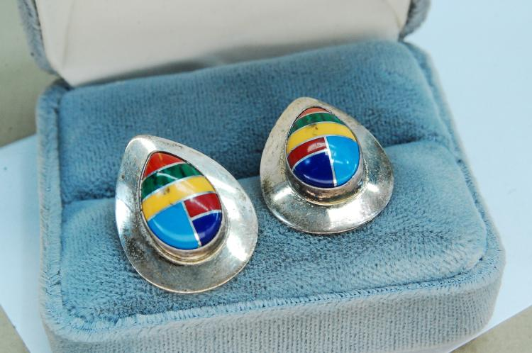 5g Sterling Stone Inlaid Zuni Post Earrings