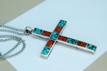 Lot 104: 10g Sterling Turquoise Coral Cross Necklace