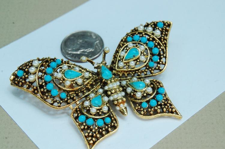 Vintage Costume Jewelry Butterfly Brooch