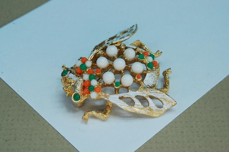 Vintage Costume Jewelry Cicada Bug Brooch