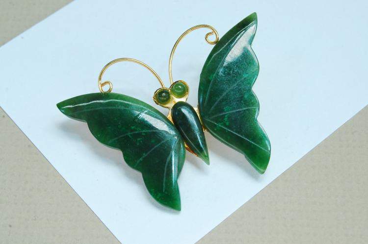 Vintage Carved Jade Butterfly Brooch
