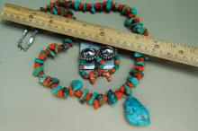 Lot 116: Vintage Navajo Sterling Natural Turquoise Coral Necklace Lot