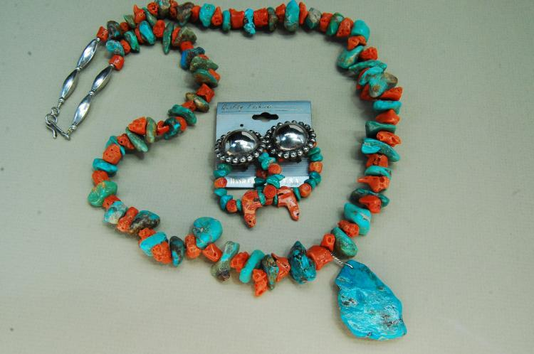 Vintage Navajo Sterling Natural Turquoise Coral Necklace Lot