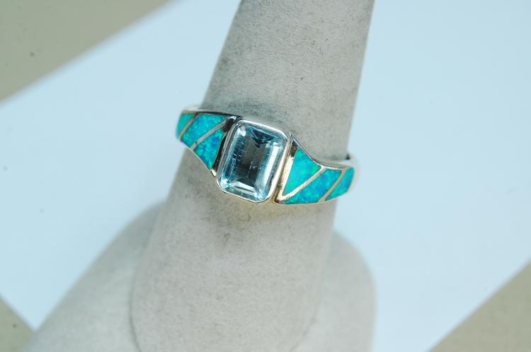 Modern Sterling Opal Aquamarine Ring Size 8