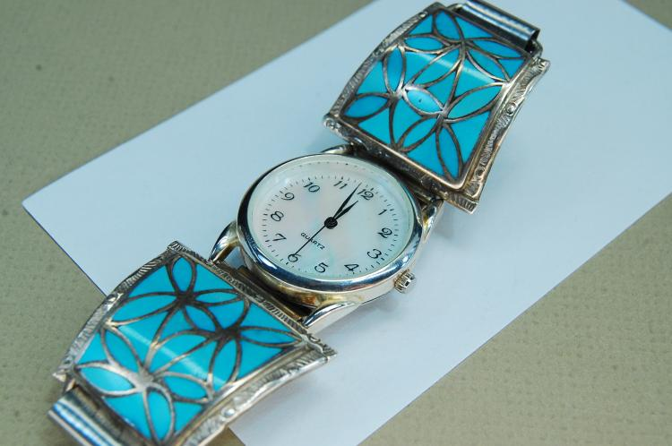 Lot 121: Sterling Turquoise Signed OS Naktewa Watch Tips