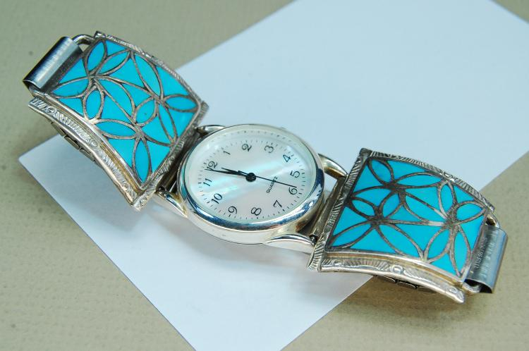 Sterling Turquoise Signed OS Naktewa Watch Tips