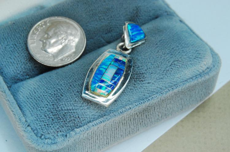 Modern Sterling Opal Inlaid Signed RL Pendant
