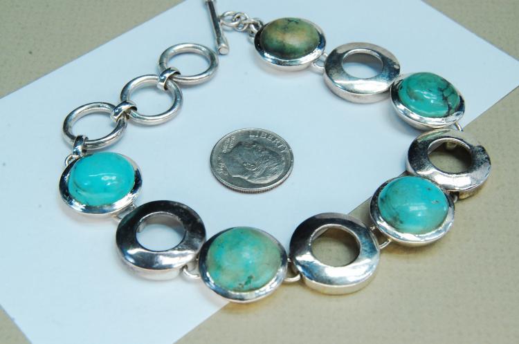 Vintage 40g Sterling Silver Turquoise Bracelet