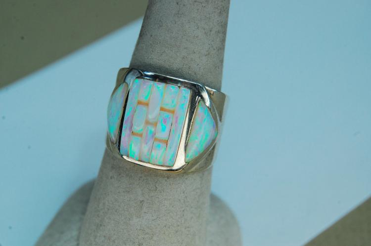 Lot 126: Modern 6.8g Sterling Opal Ring Signed TA Size 8