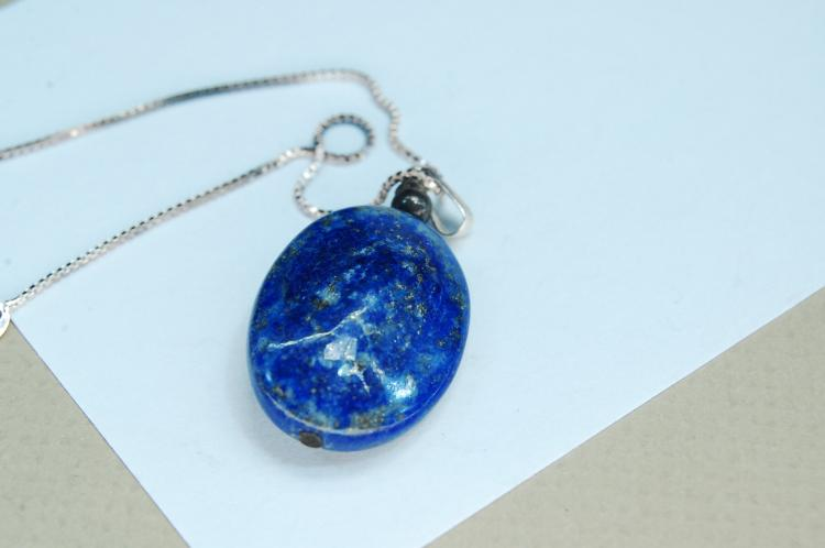 Modern 8g Sterling Lapis Lazuli Bead Necklace