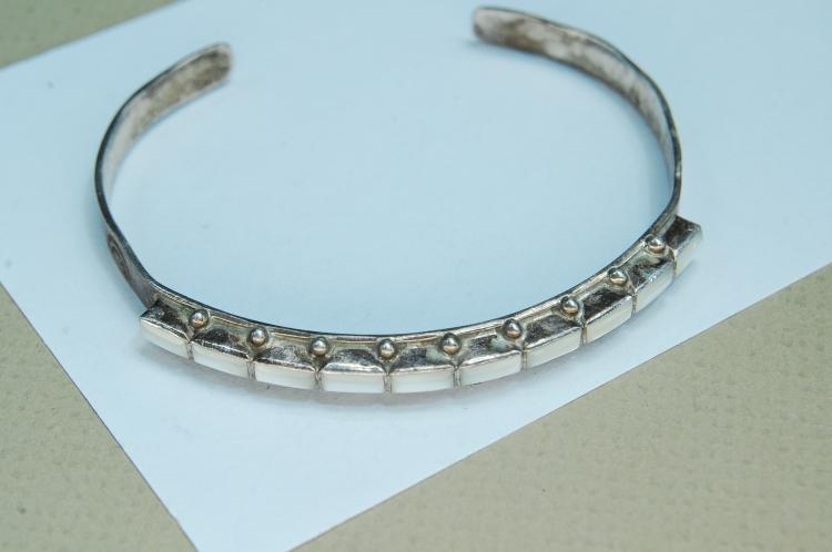 Vintage Sterling MOP Signed EVB Cuff Bracelet