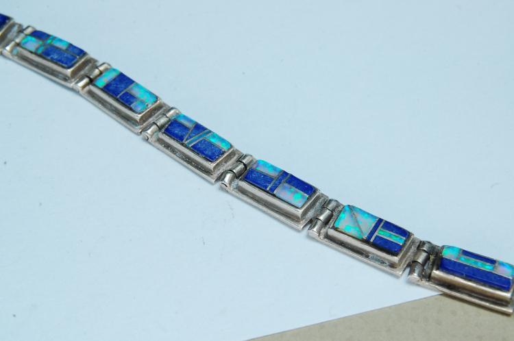 Lot 133: 18g Sterling Opal Lapis Zuni Inlaid Bracelet