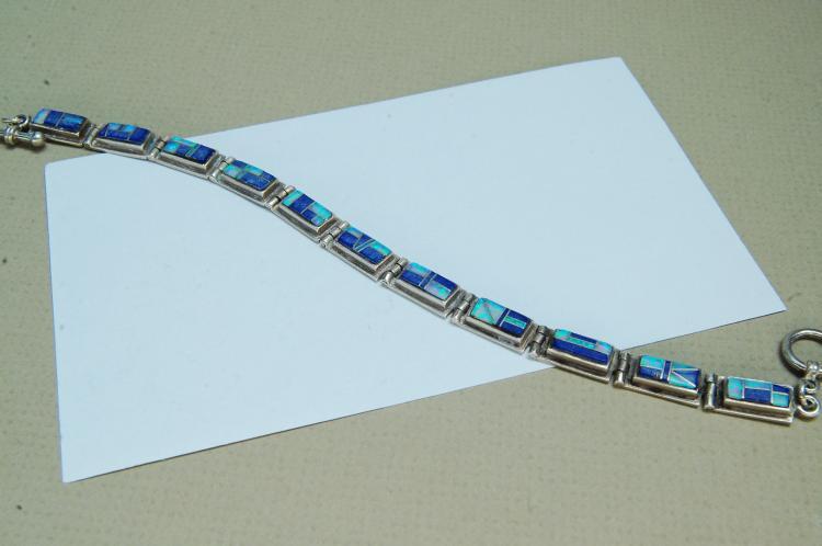 18g Sterling Opal Lapis Zuni Inlaid Bracelet