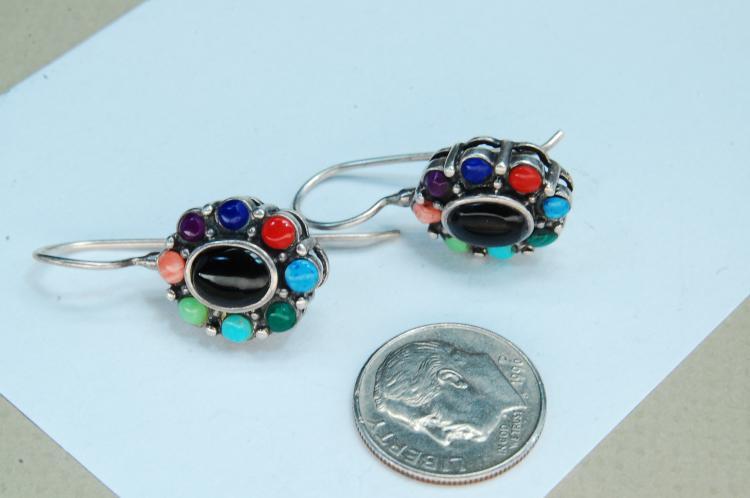 Lot 135: Vintage 5.8g Sterling Multi-Stone Earrings