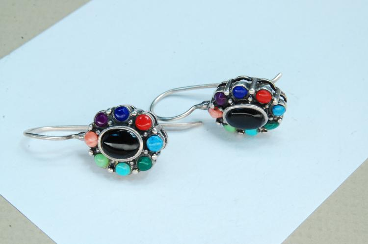 Vintage 5.8g Sterling Multi-Stone Earrings