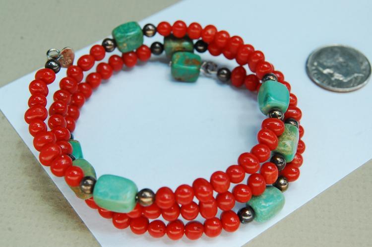 Vintage Sterling Turquoise Coral Beaded Bracelet