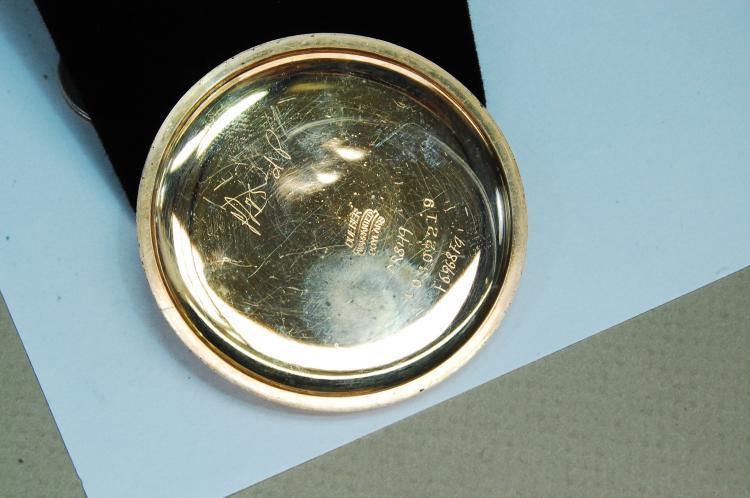 Lot 140: 1909 Gold Filled Elgin Engraved Pocket Watch