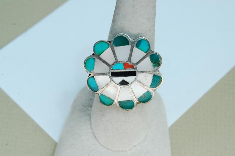 Vintage Sterling Zuni Inlaid Sun Face Ring Sz 9