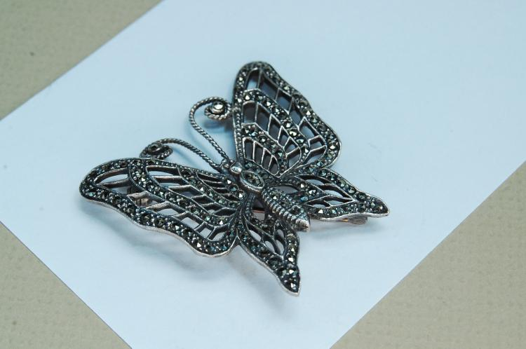 Vintage 15g Sterling Marcasite Butterfly Brooch