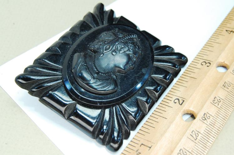 Antique Carved Bakelite Mourning Brooch