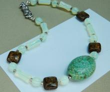 Lot 150: Sterling Turquoise Opalite Beaded Choker