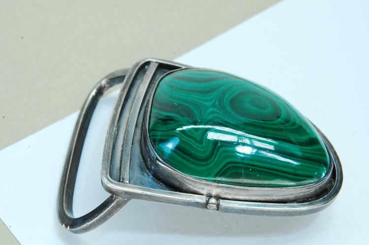 Vintage 53g Sterling Malachite Navajo Belt Buckle