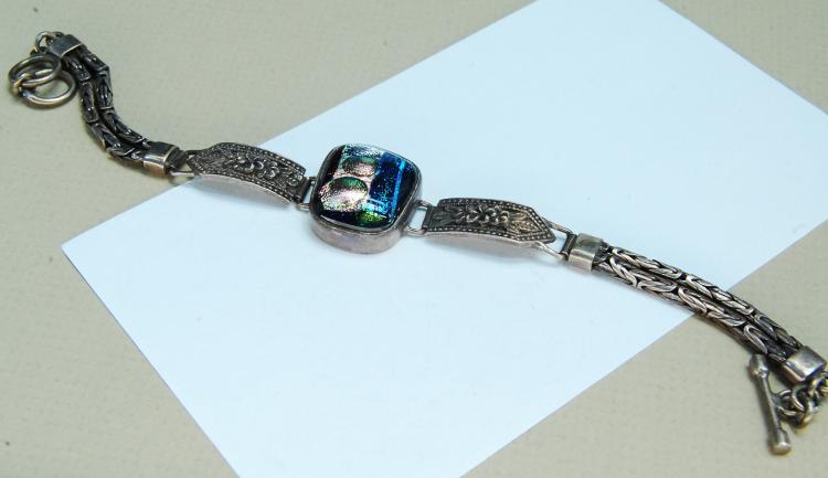 Vintage 23g Sterling Dichroic Glass Bracelet