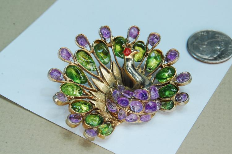 Vintage Swoboda Gem Set Peacock Brooch
