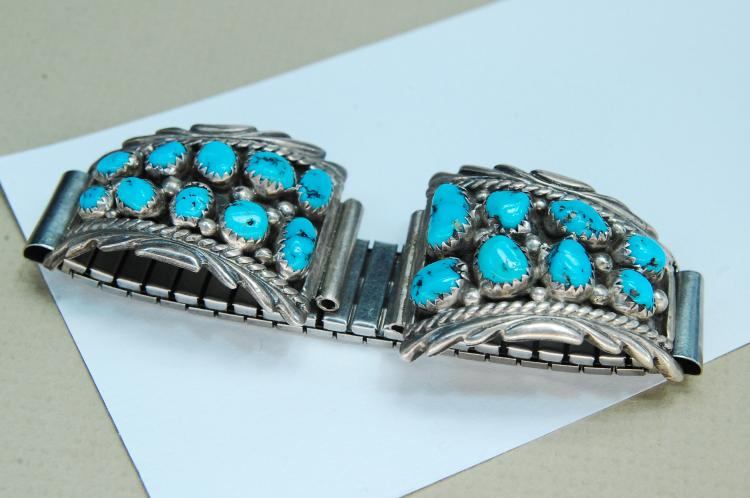 Lot 161: Sterling Turquoise Signed Annie Chapo Watch Tips