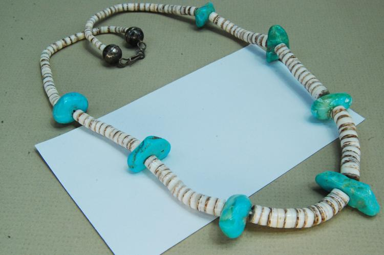 Vintage Sterling Turquoise Shell Navajo Necklace