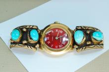 Lot 164: 12K GF Turquoise Signed Tawa By AP Watch Tips