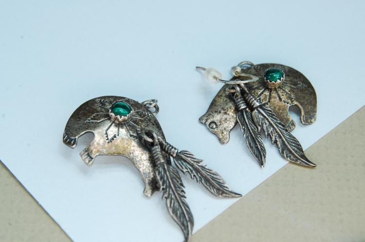 Lot 167: Vintage Navajo Sterling Malachite Bear Signed RB Earrings