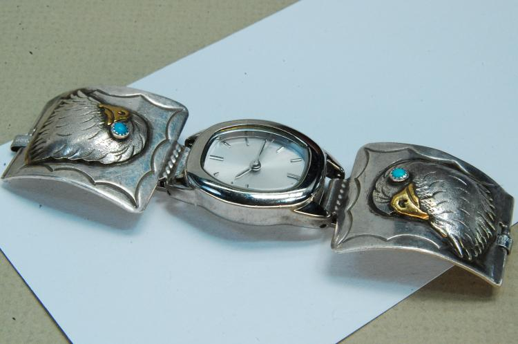 Vintage Sterling Turquoise Signed BT Watch Tips