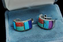 Lot 159: Vintage 11g Sterling Zuni Stone Inlaid Earrings