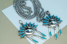 Lot 190: Petit Point Zuni Style Necklace & Pendant Lot