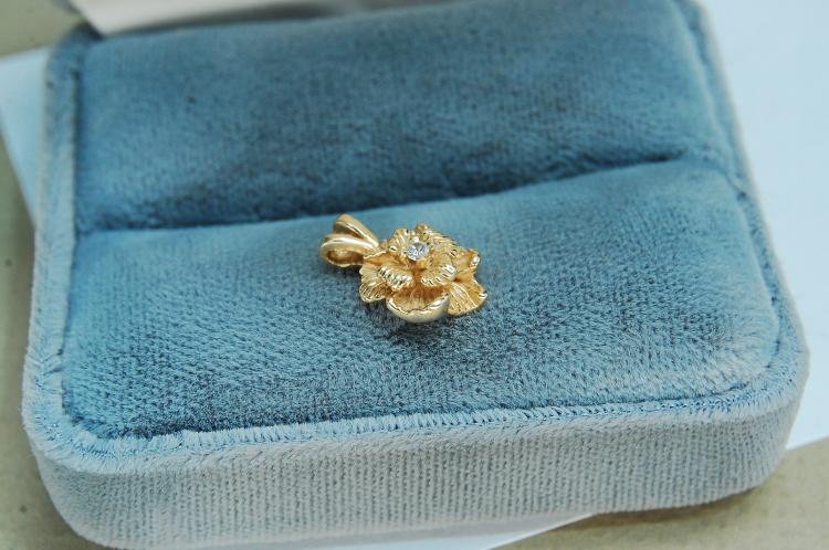 1.4g 14K Gold Diamond Rose Pendant