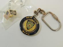 Nypd Spinner Keychain And Harley Davidson American Flag Lapel Pin