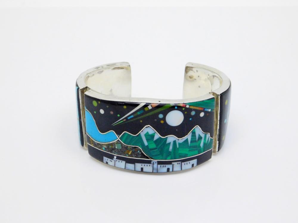 Native American Zuni Sterling Silver Inlaid Multistone Night Space Scene Cuff Bracelet 55.9G