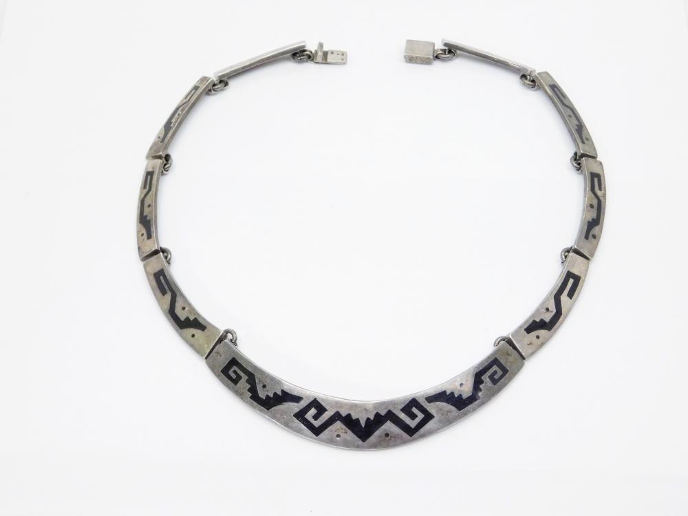 Vintage Taxco Mexico Heavy Sterling Silver Inlaid Black Enamel Art Deco Choker Necklace 72G