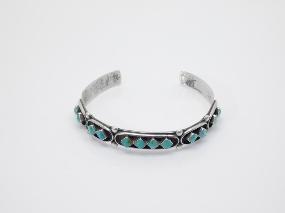 Vintage Native American Zuni Erma Waatsa Sterling Silver Hand Faceted Turquoise Cuff Bracelet 13.8G