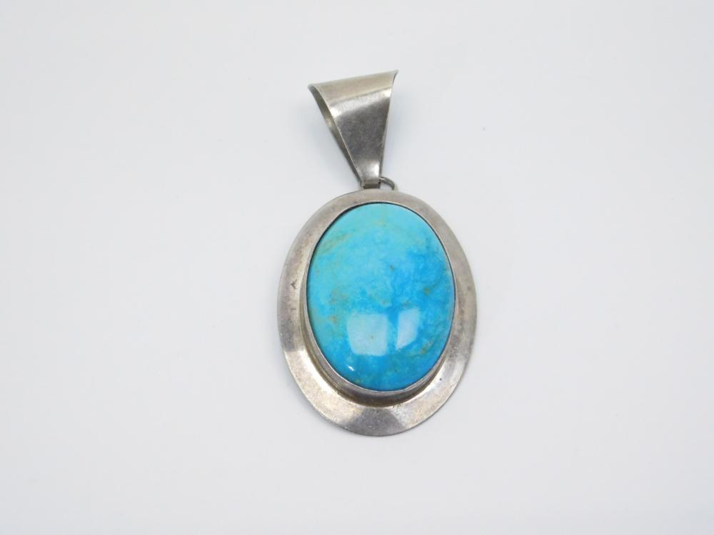 Vintage Native  American Or Mexico Sterling Silver Turquoise Large Pendant 13G