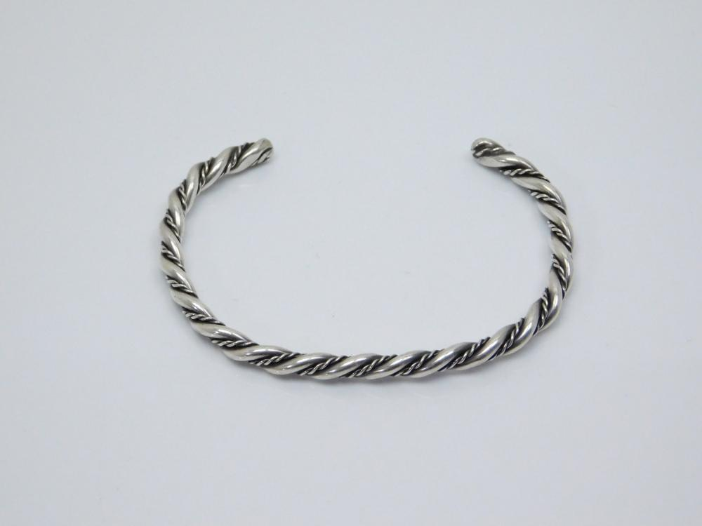 Vintage  Native American Sterling Silver Twisted Wire Cuff Bracelet 12G