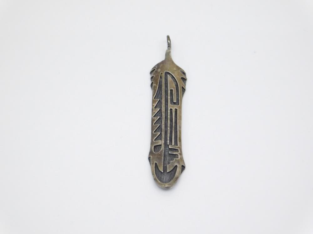 Vintage  Native American Hopi Sterling Overlay Feather Pendant 5G