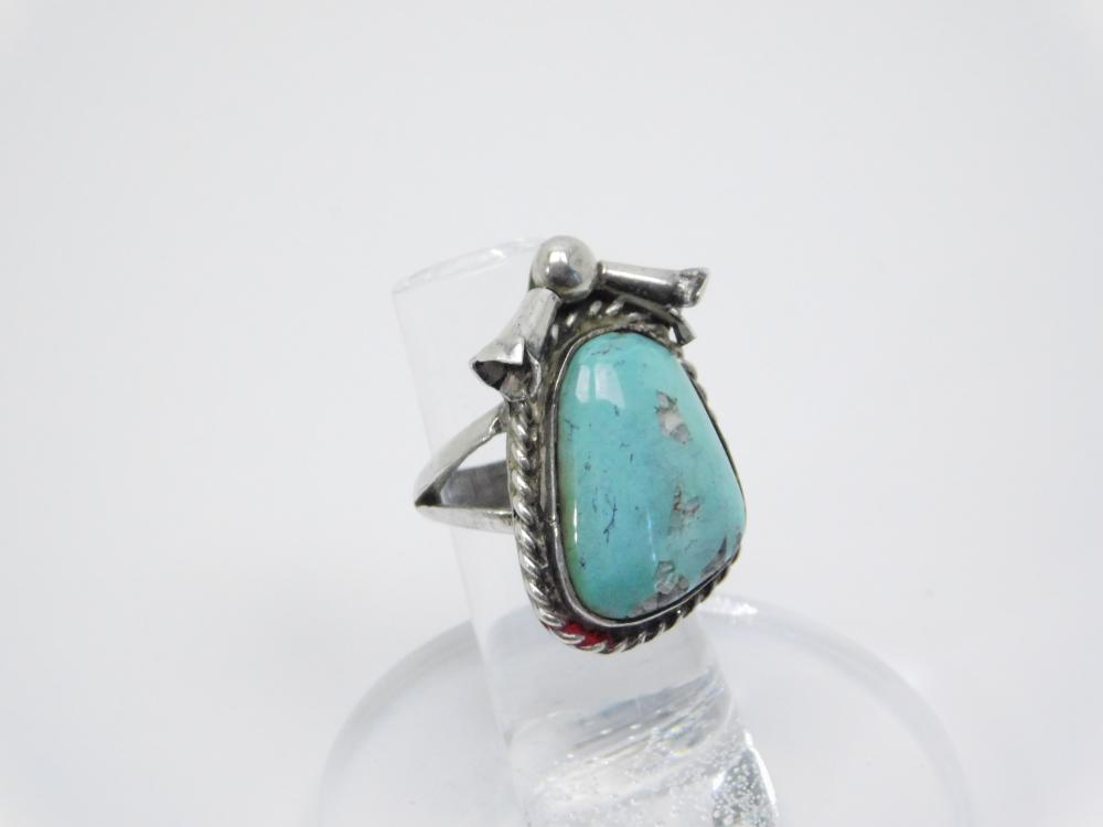 Vintage Native American Navajo  Sterling Silver Turquoise Squash Blossom Ring 11.6G Sz6