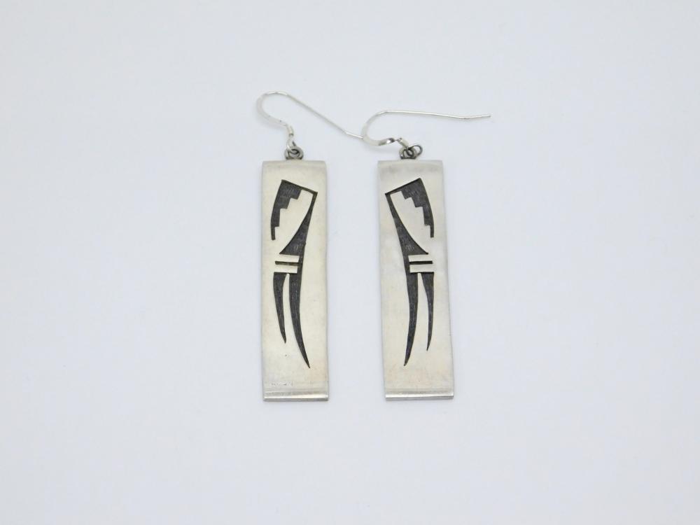 Vintage Native American Hopi Sterling Silver Tribal Overlay Dangle Earrings 16.8G
