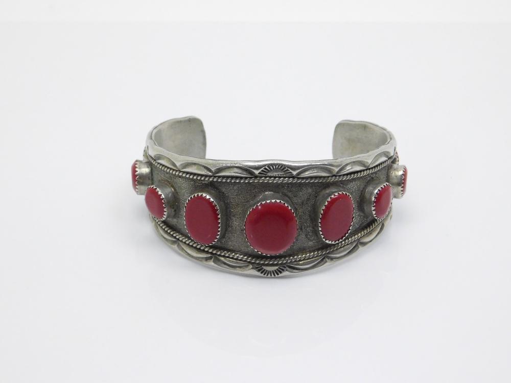 Vintage Native American Navajo Nickel Silver Faux Red Coral Mens Cuff Bracelet 58G