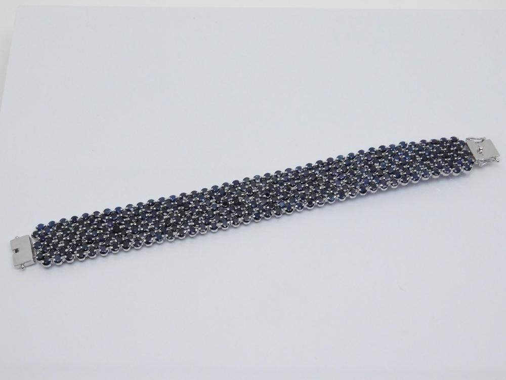 Sterling  Silver Blue Sapphire Cluster Wide Fashion Cocktail Bracelet 46G