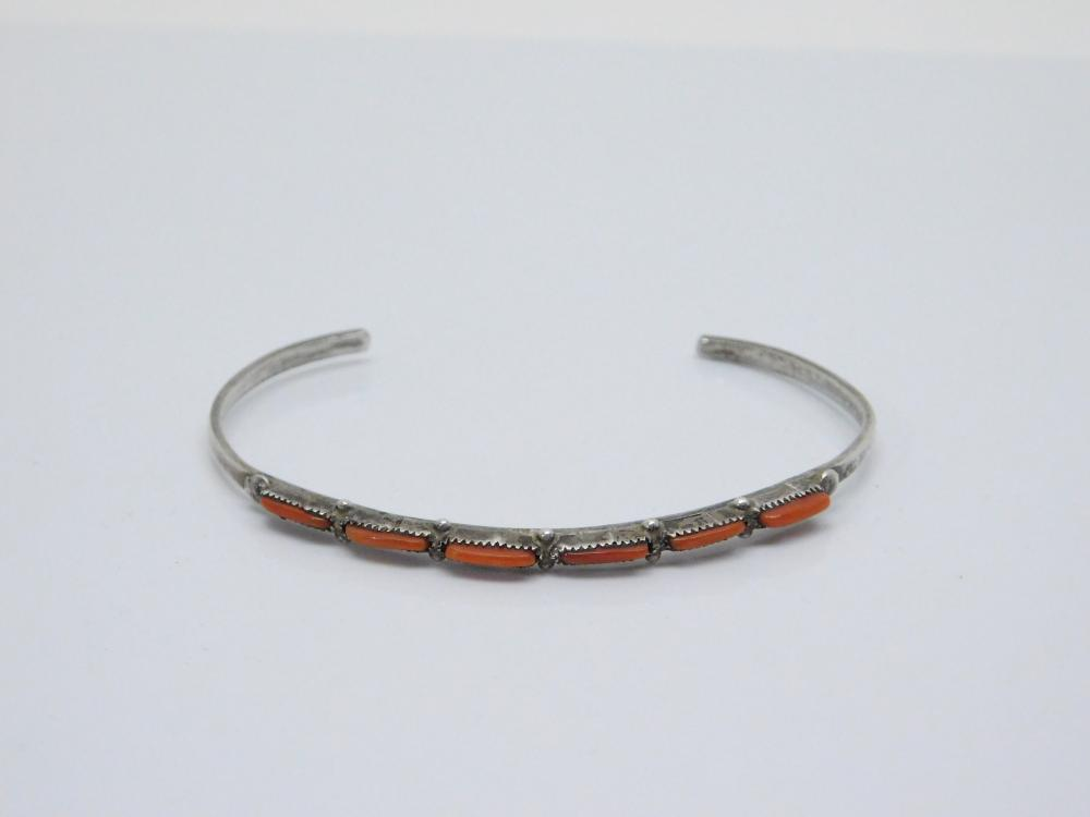 Vintage Native American Navajo Sterling Silver Petite Point Red Coral Cuff Bracelet 4.7G