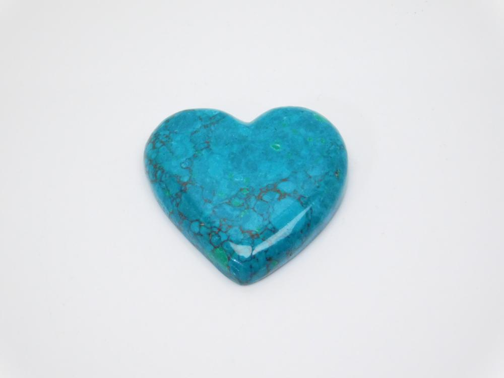 Cut & Polished Chrysocolla Heart Cabachon For Jewelry Making 67.9Ct
