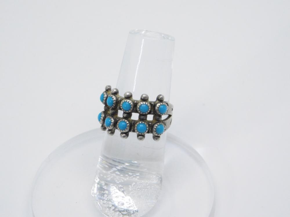 Vintage Native American Bell Trading Post Fred Harvey Sterling Silver Snake Eye Turquoise  Cluster Ring 4G Sz5.5